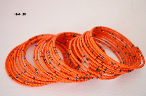 maasai beaded African inspired bracelets orange African jewellery