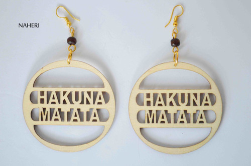 African hakuna matata wood earrings handmade jewelry