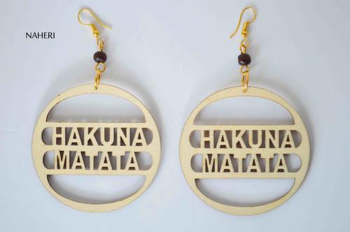African hakuna matata wood earrings handmade jewelry