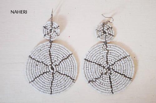 white maasai beaded two circles earrings African jewelry