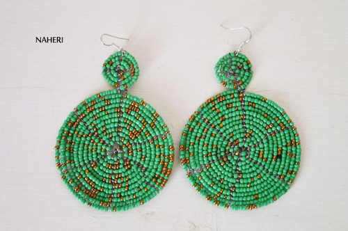 dark green beaded two circles earrings African jewelry