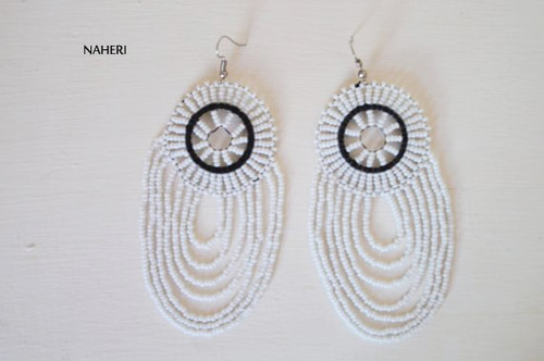 African white beaded earrings handmade tribal jewelry