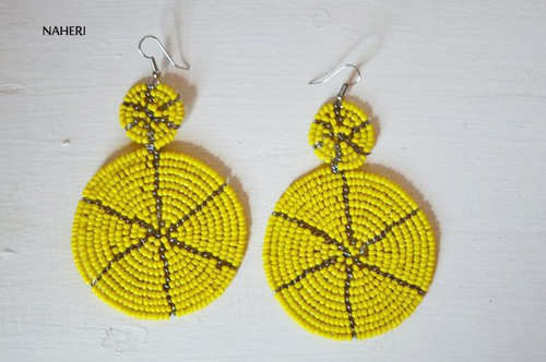 yellow beaded two circles earrings African jewelry