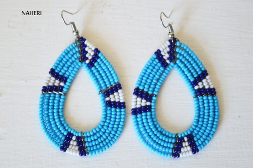 African oval hoop earrings beaded maasai jewelry