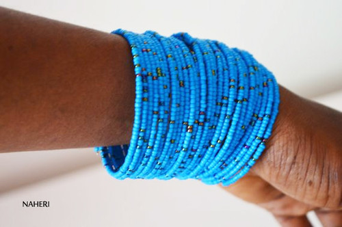 blue coil wire bracelets African maasai jewelry