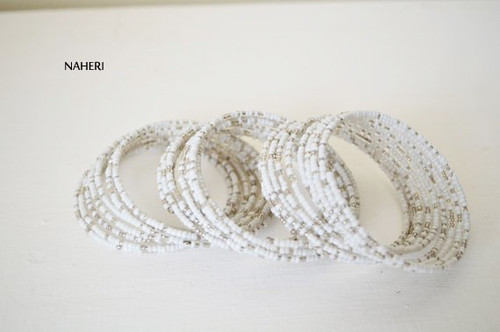 Beaded white African coil around spiral bracelets Cuff bangles