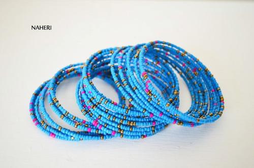 African coil around spiral bracelets blue Cuff bangles
