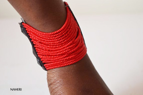 Red beaded zulu cuff bracelet African jewelry