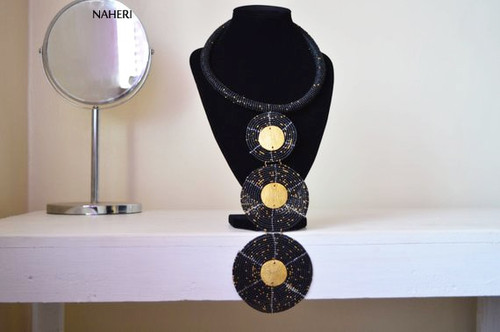 Three circles African necklace black with brass metal