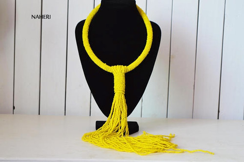 African beaded yellow tie necklace tribal jewelry