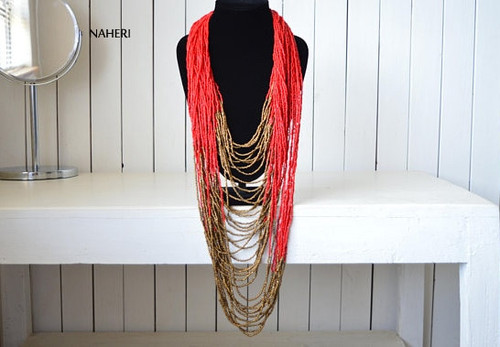 Red beaded necklace African inspired jewelry