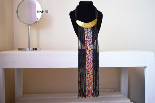 African handmade fringe necklace black with brass
