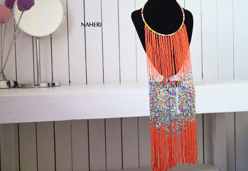 Orange African fringe necklace African beaded jewelry