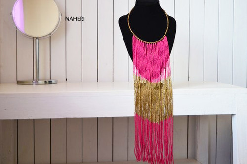 Hot pink African fringe necklace African handmade jewelry