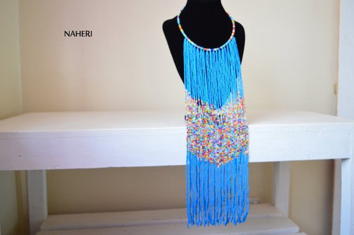 Blue African beaded fringe necklace African handmade jewelry