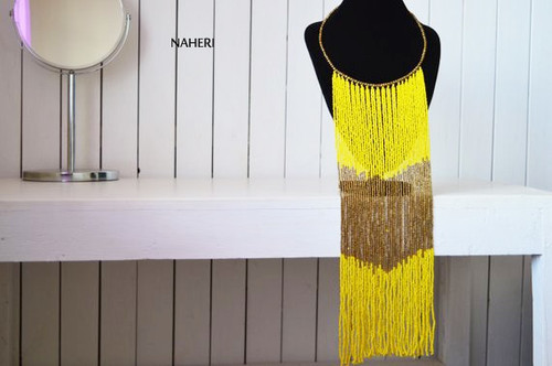 African yellow beaded fringe necklace African handmade jewelry