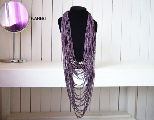 Purple beaded African inspired necklace tribal jewelry