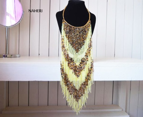 African long fringe necklace cream yellow beaded jewelry v-shape