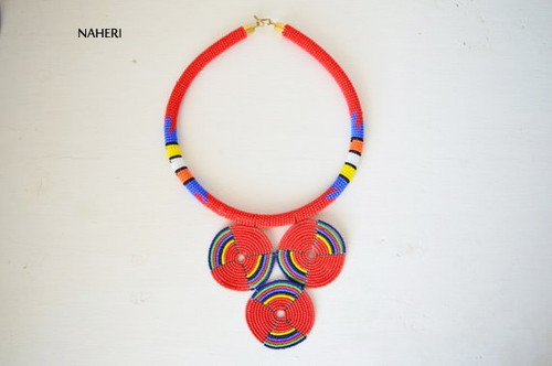 Zulu red beaded necklace African jewelry