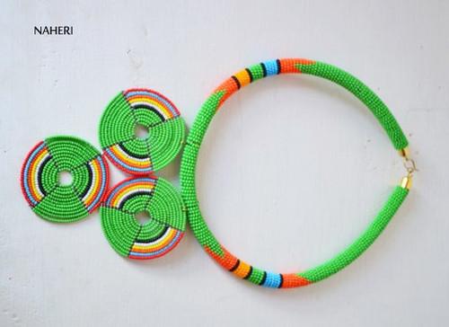 Zulu green beaded necklace African jewelry