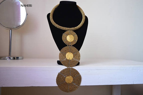 African necklace three circles copper color with brass metal