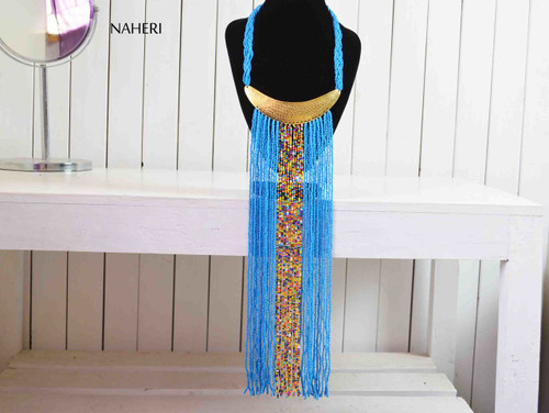 African handmade fringe necklace ocean blue color with brass tribal jewelry