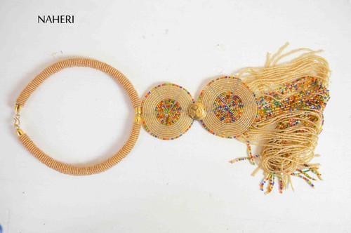 Handmade African fringe necklace beige with brass