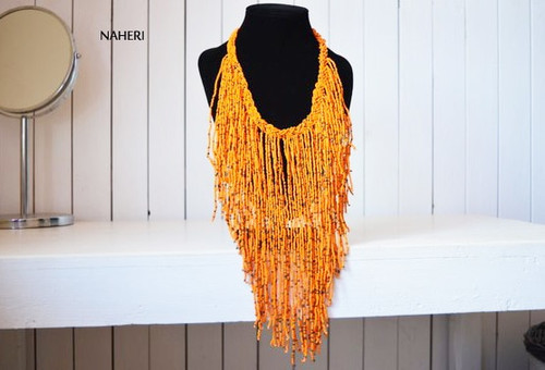 orange fringe necklace African jewelry