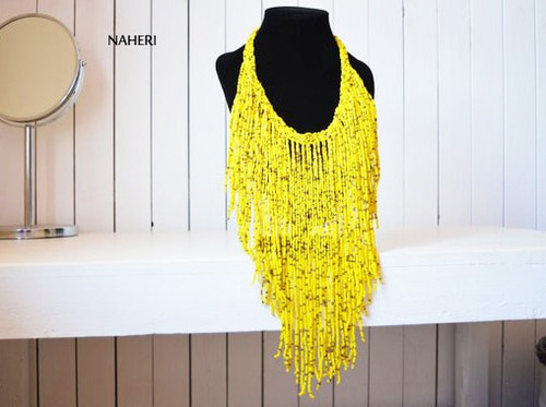 yellow fringe necklace African jewelry
