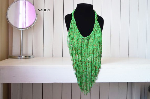 green summer fringe necklace African jewelry
