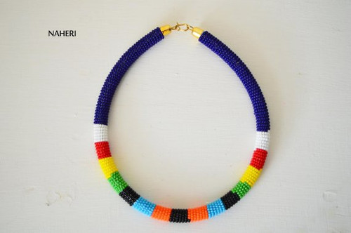 Zulu beaded necklace navy blue beaded African jewelry