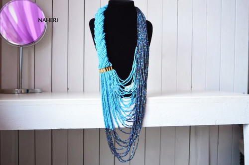 sky blue African inspired beaded necklace African tribal jewelry