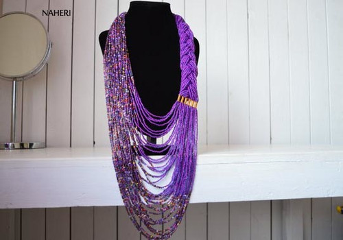 Purple African inspired beaded necklace African tribal jewelry