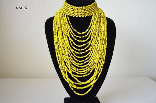 Handmade beaded African choker necklace yellow jewelry