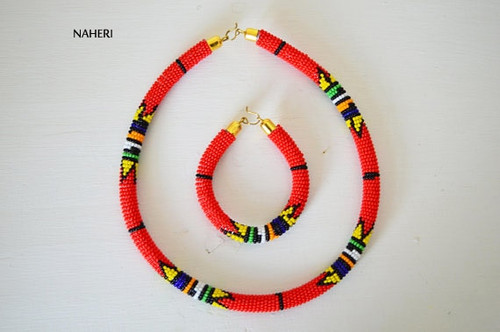 Red beaded necklace African Zulu handmade jewelry