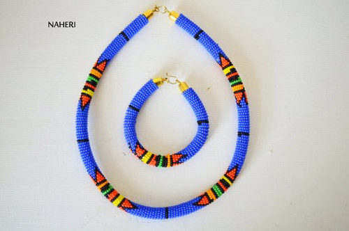 Bush blue beaded necklace African Zulu handmade jewelry