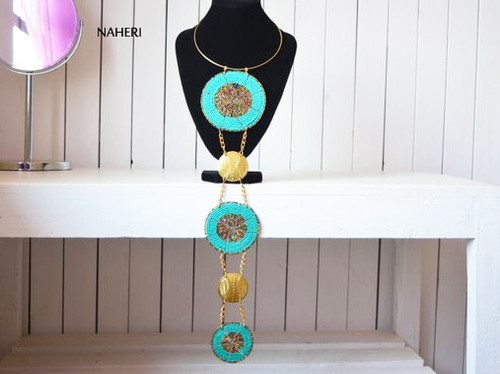 African tribal necklace with brass metal decorations maasai jewelry