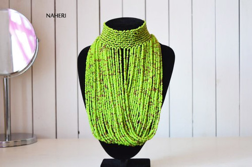 African choker necklace beaded light green