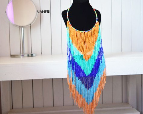 African long fringe necklace multicolored beaded jewelry