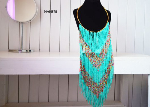 African long fringe necklace turquoise beaded jewelry
