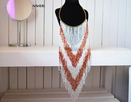 African long fringe necklace white beaded jewelry