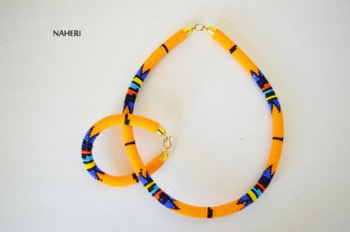 Mustard yellow beaded necklace African Zulu handmade jewelry