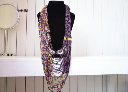 African inspired beaded necklace purple African tribal jewelry