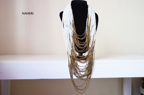 White African inspired necklace tribal jewelry