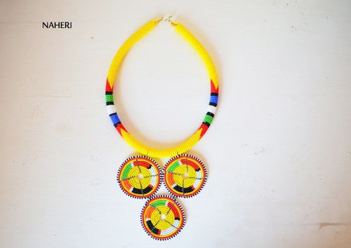 Yellow Zulu beaded necklace African tribal jewelry
