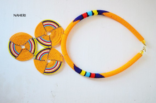 Zulu beaded necklace mustard yellow African tribal jewelry