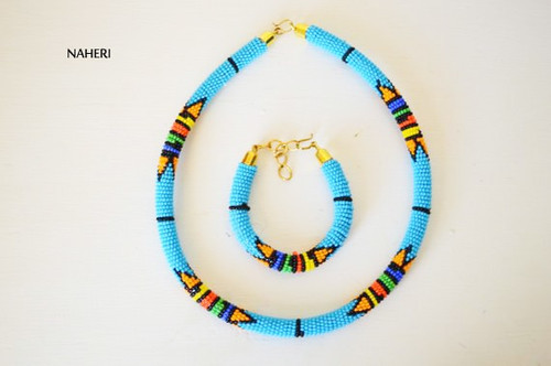 Sky blue beaded African necklace Zulu handmade jewelry