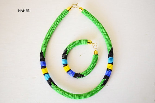 Green beaded African necklace Zulu handmade jewelry