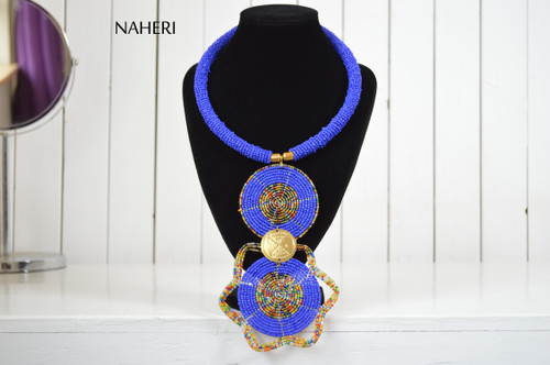 African beaded tribal pendant necklace royal blue jewelry naheri
