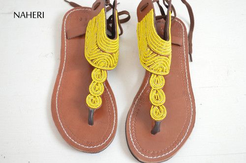Maasai beaded African handmade leather yellow summer sandals